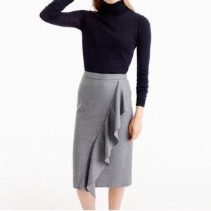 J Crew Collection Italian Wool Ruffle Pencil Skirt